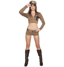 Adult Woman Costume Sexy Army Soldier Beige Size Medium Large 4 Pc Set