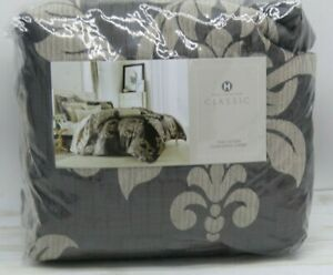 Hotel Collection Classic Flourish Damask Jacquard FULL/QUEEN Duvet Cover Brown