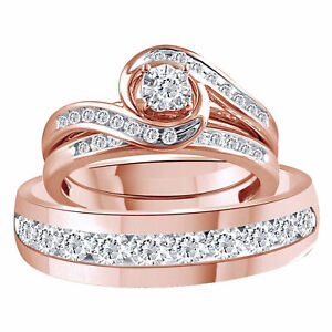 10K Solid Rose Gold Simulated Diamond Bypass Trio Bridal Ring Set