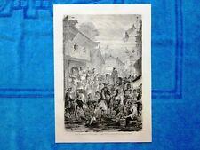Gravure Année 1864 - La rue des marchands d'habits - Via dei mercanti di abiti