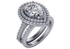 Anillos de joyería con diamantes de compromiso, pera, SI1