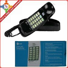 AT&T Telephone Push Button Corded Desk Wall Mount Home Trimline Phone Black