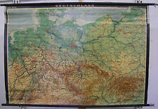 Schulwandkarte Deutschland Germany 1937 Grenze 128x89cm ~1969 vintage wall map