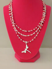 Red & White Necklace Made with  Swarovski Dragonfly Pendant