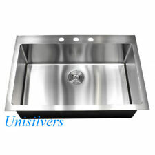 "33"" x 22"" Top mount Drop In 15mm Radius Stainless Steel Single Bowl Kitchen Sink"