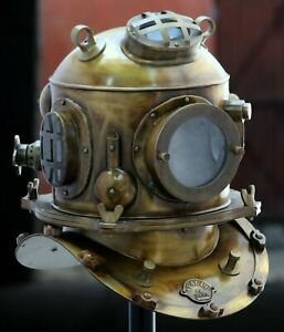 18 Inch Antique Steampunk Handmade U.S Navy Steel Diving Divers Helmet
