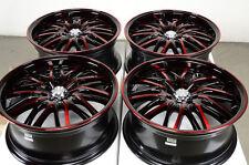 17x7.5 Red Black Wheels Rims 4x100 4x114.3 Integra Spark Tracer Clubman Cooper