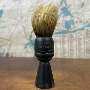Antique Wood Handle Shaving Brush  Set in Rubber USA BARBER SHAVING STERILIZED.