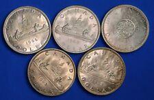 5x 1962 - 1966 Canada Canadian $1 dollars,  80% silver, QEII, aUNC *[18971]