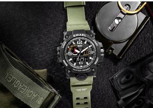 Military Watch 50m Waterproof Wristwatch LED Quartz Sport Watch For Men's
