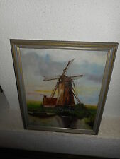 Old oil painting,{ Landscape with a windmill, signed A. vd P. 1925 }.