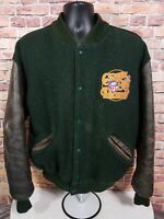 Vintage Green Bay Packers NFL Football Leather Letterman Jacket Mens Size Large