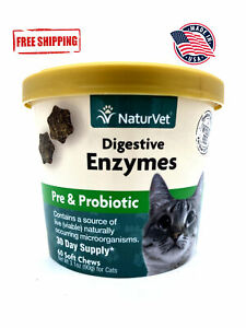 NaturVet Digestive Enzymes Plus Probiotic 60 Chews FREE SHIPPING