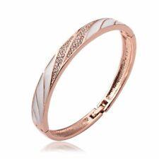 Womens Rose Gold Filled Elegant Micro Pave CZ Bangle Fashion Bracelet #DB12