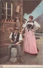 Postcard Blacksmith Hammering on Anvil
