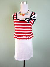 Womens Vtg Retro Style Casual Stripe Summer Ruff Short Mini Dress sz 16 XL F51