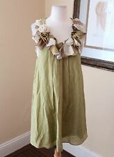 Ryu Anthropologie Green Floral Ruffle Silk Shift Dress Size M Boho Festival