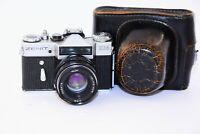 RARE 1974 ZENIT EM Silver EXPORT Soviet SLR film camera w/s lens Helios 44M