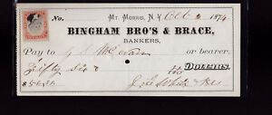 Bingham Brothers & Brace Bankers Check Mount Morris NY 1874 Revenue Stamp