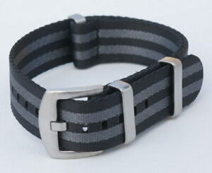 NATO Strap James Bond Armband 20 mm schwarz grau black grey seat belt 007 # 8033