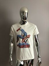 NEW Junk Food Cream Color Viva Captain America Graphic T-SHIRT Size M