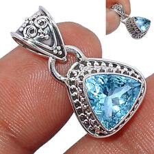 Faceted Aquamarine 925 Sterling Silver Pendant  Jewelry AQFP955