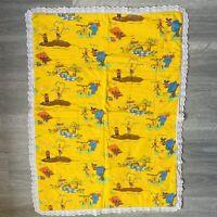 Vintage 70s Sesame Street Muppets Inc Crib Cot Blanket Retro Throw