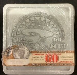 60TH ANNIVERSARY OF VE DAY COMMEMORATIVE COIN AND MEDALLION SET IN TIN CASE
