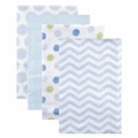 Luvable Friends Boy Flannel Receiving Blankets, 4-Pack, Blue Dots
