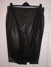 RIVER ISLAND Black Faux Leather Open Front Pencil Skirt Size 12