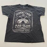 Johnny Cash Man In Black T-Shirt Size XL Gray Zion Retro Rock Concert Tour