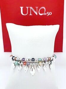 NEW UNO de 50 Silver Tone Glam Duck Party Multi Bead Crystals Boho Bracelet