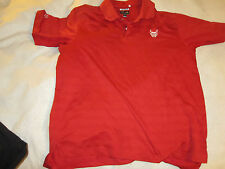 Adidas Golf Climacool Tech Small Striped Polo Sport Shirt Red with Bv Devil~0841