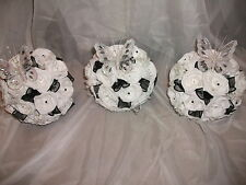 3 X BRIDESMAIDS WEDDING BUTTERFLY BOUQUETS / FLOWERS ,BLACK & WHITE