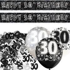 Black Silver Glitz 30th Birthday Banner Party Decoration Pack Kit Set