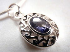 Faceted Iolite Necklace Filigree Oval 925 Sterling Silver Corona Sun Jewelry