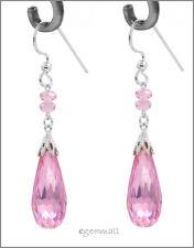 Sterling Silver Dangle Earrings w/CZ Drop Pink #53028