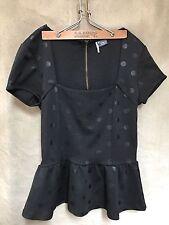 SPARKLE + FADE Black POLKADOT PEPLUM Knit TOP Urban Outfitters XS Exposed Zipper