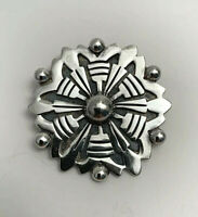 Vintage Taxco Mexico Sterling Silver Geometric Tribal Brooch