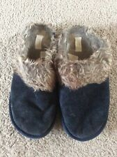 Next Black Suede And Fur Slippers Size 8 Euro 41
