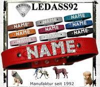 LEDASS92 Hundehalsband mit Namen Strass Hund Halsband Name Buchstaben Leder Neu