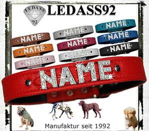 LEDASS92 Hundehalsband mit Namen Strass Hund Halsband Lederhalsband Wunschname