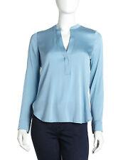VINCE Placket Sky Blue Silk Charmeuse Long Sleeve Split Neck Button Blouse Top 6