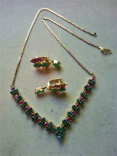 14K Yellow Gold, Natural Emerald, Ruby Necklace and Earring Set Thailand