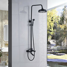 Oil Rubbed Bronze Shower Faucet 8''Rainfall With Hand Shower Bathtub Mixer Tap