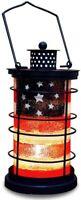 Rustic Metal American Flag Decorative Candle Lantern Hanging Patriotic Decor
