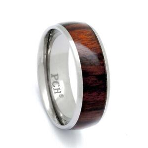 Titanium Wood Ring With Genuine Hawaiian Koa Wood, 8mm Comfort Fit Wedding Band