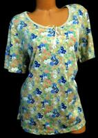 Bobbie brooks beige floral women's plus size scoop neck short sleeve top 18/20