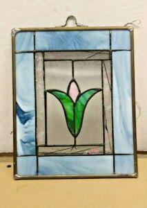 CUSTOM STAINED GLASS FLOWER WINDOW FRAME BLUE MULTI