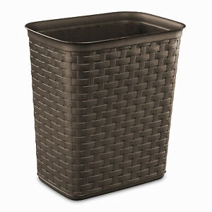 Trash Can, Modern Brown With Weave Pattern, 3.4-Gallons -10346P06